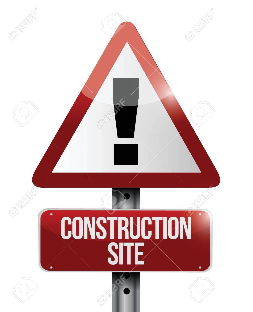 construction site warning road sign illustration design over white